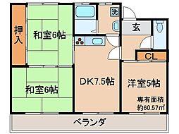 京都府京都市山科区西野山百々町の賃貸マンションの間取り
