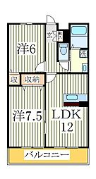 アルファタウン天王台B[2階]の間取り