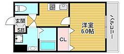 JR大阪環状線 寺田町駅 徒歩9分の賃貸マンション 4階1Kの間取り