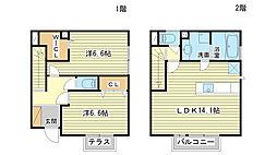 [テラスハウス] 兵庫県姫路市網干区新在家 の賃貸【/】の間取り