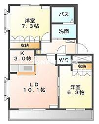 岡山県岡山市中区福泊丁目なしの賃貸マンションの間取り