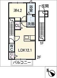 仮)広久手町3丁目アパート 2階1LDKの間取り