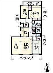 三渓ヒルズ E棟[2階]の間取り