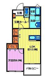 埼玉県日高市高萩の賃貸アパートの間取り