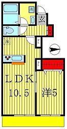 千葉県松戸市小金原1丁目の賃貸アパートの間取り