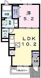 埼玉県越谷市蒲生2丁目の賃貸アパートの間取り
