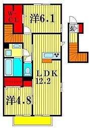 (仮)D-room八ヶ崎[2階]の間取り