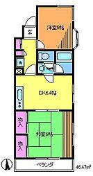 東京都調布市調布ケ丘4丁目の賃貸マンションの間取り