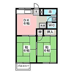 グリーンハイツ植田山B棟[2階]の間取り