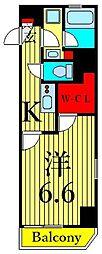 東京メトロ日比谷線 三ノ輪駅 徒歩6分の賃貸マンション 7階1Kの間取り
