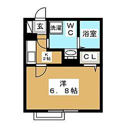 カーザ平井 3階1Kの間取り