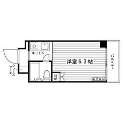 おおさか東線 城北公園通駅 徒歩10分の賃貸マンション 6階ワンルームの間取り