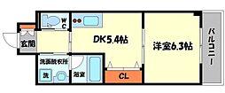 SanFriend-Solana 6階1DKの間取り