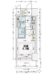 エステムコート新大阪オルティ 4階1Kの間取り
