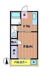 東京都福生市南田園2丁目の賃貸アパートの間取り