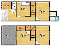 [テラスハウス] 大阪府茨木市中津町 の賃貸【/】の間取り
