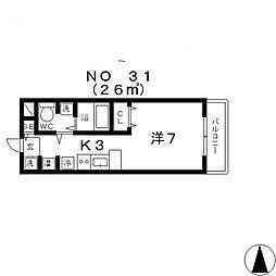 パラッツォ四天王寺[701号室号室]の間取り