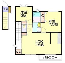 レイクサイド須恵東[2階]の間取り