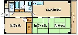 兵庫県伊丹市南野北3丁目の賃貸マンションの間取り