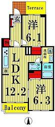 東京都足立区平野2丁目の賃貸アパートの間取り