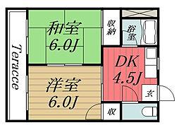 JR東金線 求名駅 徒歩35分の賃貸アパート 1階2DKの間取り
