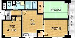 新森グレイス 5階3DKの間取り