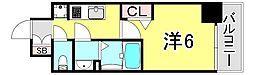 JR山陽本線 兵庫駅 徒歩2分の賃貸マンション 2階1Kの間取り