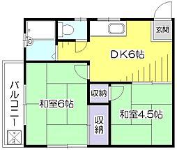 東京都東久留米市前沢1丁目の賃貸アパートの間取り