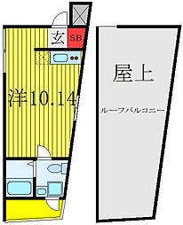 JR山手線 田端駅 徒歩15分の賃貸マンション 4階ワンルームの間取り