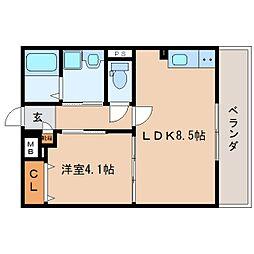 JR東海道本線 静岡駅 徒歩15分の賃貸マンション 3階1LDKの間取り