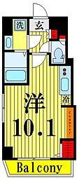ゲートフィールド浅草東駒形 6階ワンルームの間取り