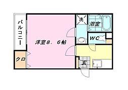 クレフラスト貝塚駅北[102号室]の間取り