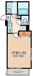 東京メトロ丸ノ内線 茗荷谷駅 徒歩7分の賃貸マンション 2階1Kの間取り