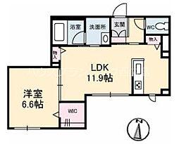 広島電鉄宮島線 修大協創中高前駅 徒歩4分の賃貸マンション 1階1LDKの間取り