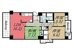 千葉県千葉市中央区鵜の森町の賃貸マンションの間取り