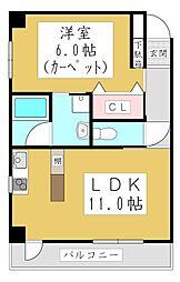 ポムダムール 4階1LDKの間取り