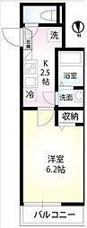 東武伊勢崎線 東向島駅 徒歩8分の賃貸アパート 2階1Kの間取り