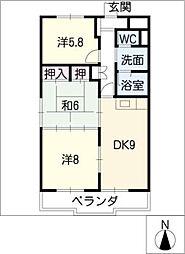 島崎ハイツ[4階]の間取り