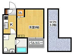 大阪府大阪市生野区新今里5丁目の賃貸アパートの間取り