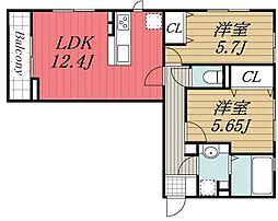 京成千原線 ちはら台駅 バス13分 かずさの杜入口下車 徒歩2分の賃貸アパート 1階2LDKの間取り