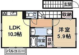 Neue大津京(ノイエ大津京)[202号室号室]の間取り