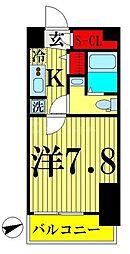 都営新宿線 西大島駅 徒歩4分の賃貸マンション 10階1Kの間取り