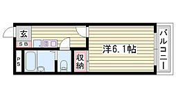 JR播但線 京口駅 徒歩18分の賃貸アパート 1階1Kの間取り