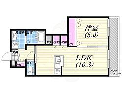 ラ・カーサ西宮北口 3階1LDKの間取り