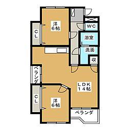 サンライズ櫻 B棟[2階]の間取り