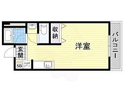 大阪モノレール彩都線 万博記念公園駅 徒歩10分の賃貸マンション 3階ワンルームの間取り