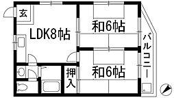 エスポアール宝塚[3階]の間取り