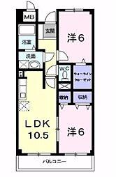 ル・グランパレ 1階2LDKの間取り