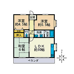 ベルハウスD[2階]の間取り