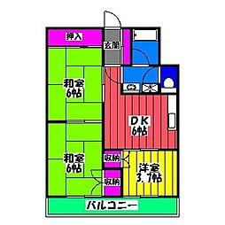 福岡県福岡市博多区諸岡3丁目の賃貸マンションの間取り